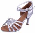 Alta qualidade de prata das mulheres populares sapatos de dança latina/preço promtion!!