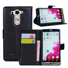 Hot selling Lichee Pattern PU Leather Cell Phone Holster wallet stand Cover Case with card slots For LG G3 mini