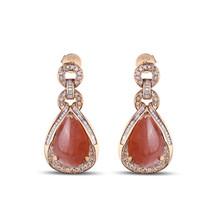 New Arrival Fashion Design Natural Rhodochrosite 18K Gold Dangle Earrings