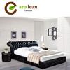 C367 Bedroom furniture Modern style black leather bed design