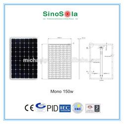 150W mono PV Solar panel with IEC,TUV,CE,CEC,CQC,PID.cert