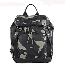woman's genuine leather shoulder bag and backpack with camouflage printing