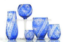 big flowers arrangemetn blue glass vase for Tea roses,sunflowers and Mixed arrangements
