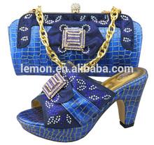 2014 African royal blue high heel shoe and bag matching sets (JB02-6)
