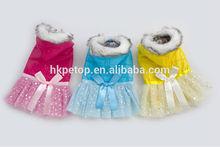 2014 Winter Fur Collar Dog Dress Coat