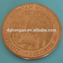 B15 1 oz 999 Fine Copper African Elephant Round