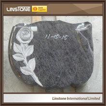 Black Granite Carved Rose Headstone