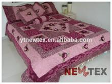 purple velvet patchwork home decorative comforter set quilted applique embroidered bedspreads