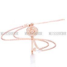 Glittering match clothes key pendant necklace for women SSN006RG