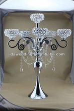 stylish LED illuminated crystal candelabra type vase centre piece for wedding planning