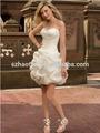 Palla abito fidanzata volant senza maniche corte/mini abiti da sposa in organza alibaba abito da sposa 2015