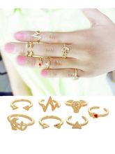 7Pcs Women Cute Knuckle Ring Cool Anchor Skull Shape Band Midi Rings Set