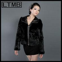 HOT SALE 2014 women fashionable rabbit fur and sheepskin leather cross coat sheepskin leather coat full sleeve mandarin collar