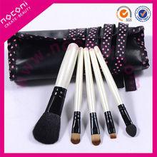 Noconi 2014 5 pcs cute mini cosmetic travel set natural hair /shiny black handle /pu roller bag brush set-NBP0539B
