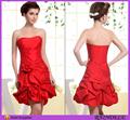 Curta um- linha strapless estilo mini red tafetá de casamento festa vestidosdedamadehonra para adolescentes