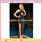 Sexy Long Cross Over Neckline Split Maxi Evening Dress 2014