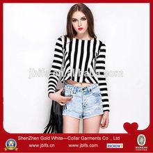 OEM women's fashion stripe splice long sleeve tshirt
