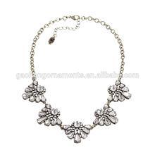 Flower Lattice Crystal Gemstone Cluster stament necklace for fashion ladies