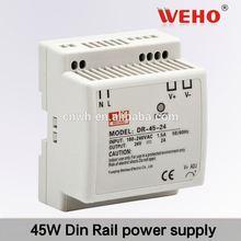 2014 HOT!!! 45W single output DIN Rail power 15v 2.8a dc power supply