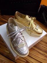 2014 plata estalló grieta zapatos gruesos zapatos de plataforma inferior