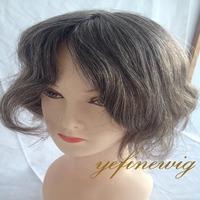 High Quality Silky Top virgin Grey Short Human Hair Wig For Black Women