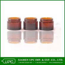 amber cosmetics cream empty jar/ bamboo cream jar/ recycled glass jars