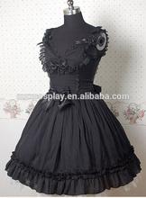 Lovely Women Sleevelss High Waist Black Falbala Bow Cotton Lolita Dress Custom Order Halloween Gifts