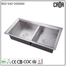 Top grade new style Under mounted Double bowls 860X440X200mm latrine wash basin