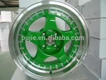 Hot sale replica Volk te37 car alloy wheel 18INCH green and machine lip