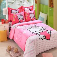 Good quality hello kitty home textile 100%cotton kids cartoon bedroom set