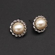 selling style sunflower 925 silver pearl earrings Korea fashion accessories ,1 dozen /12 pc free shipping