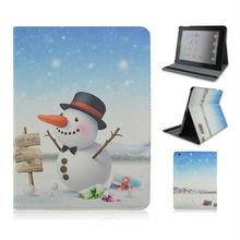 New! Lovely Cartoon Snowman Stand PU Tablet Leather Case For Apple iPad 3,ipad air,ipad mini, Christmas Gift