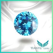 Fashion Round Stones Earrings Semi Precious Stone Blue Cubic Zirconia