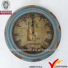 round metal shabby blue finish antique mantel clock