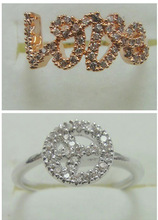 Young Girl Style Love Round Finger Rings Silver Crystal Pave Pigeon Rings For Women Fashion Metal Rings