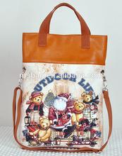 most popular fashion digital print PU lady's cute tote cotton bag