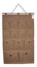 13 pockets jute fabric hanging bag or organizer