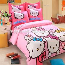 Most popular hello kitty home textile 100%cotton kids cartoon bedding set