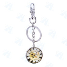 Hot New Products for 2015 Clock Photo Glass Metal Keychain, promotional several style clock photo keychain