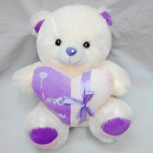 In white color 35cm wholesale plush bear toys with heart