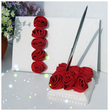 2014 wholesale red satin rose wedding guest book and pen red flower pen holder red set wedding collection