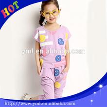 2014 fashion kids emoji cloth sets girls emoji t shirt and emoji jogger pants
