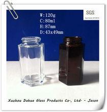 80ml clear and amber hexagonal glass jar