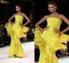 NI-384 Latest Paris Fashion Week Straight Sleeveless Ruffled Lemon Evening Dresses France