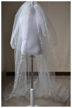 2014 wholesale long tulle applique train lace cathedral wedding veil lace fabric wedding veil silk tulle