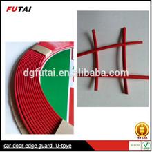 U shape red car door edge guard, rubber edge trim