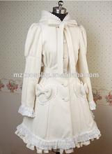 Cute White Feminine Falbala Sweet Cashmere Bow Long Sleeves Double Button Women Lolita Coat