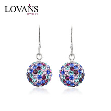 Colorful Crystal Fashion Zircon Stud Earring Drop Ball Austrian CLE0055