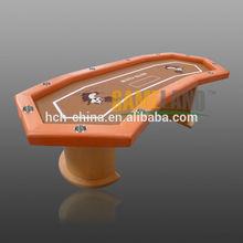 de lujo de encargo de cabeza hexagonal de madera mesa de póquer de dibujos animados con mesa de fieltro