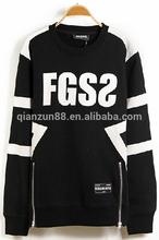 Custom Printed Thick Black Side Zipper Fashion Hoody